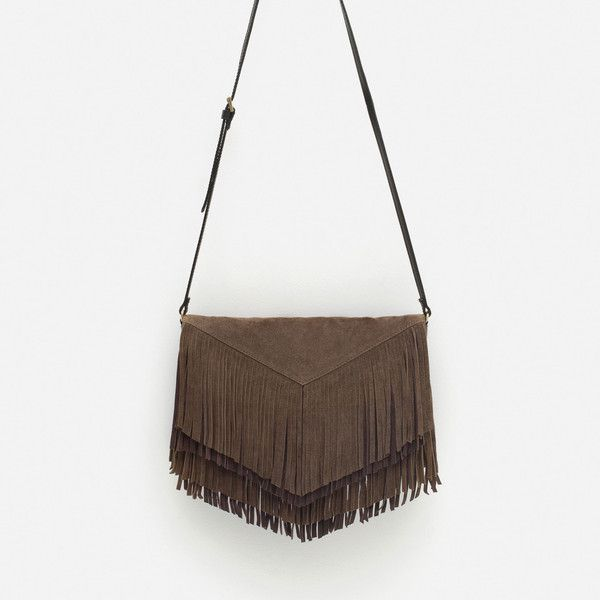 FRINGED SUEDE MESSENGER BAG (£34) ❤ liked on Polyvore featuring bags, messenger bags, suede bag, fringe bags, suede messenger bag, white fringe bag and white bag