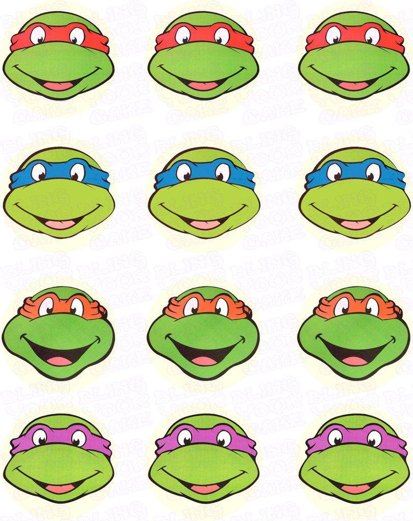 Teenage Mutant Ninja Turtles Tmnt Face Edible Icing Cupcake Decor Toppers Tmnt1 Teenage Mutant Ninja Turtles Party Ninja Turtles Ninja Turtle Mask