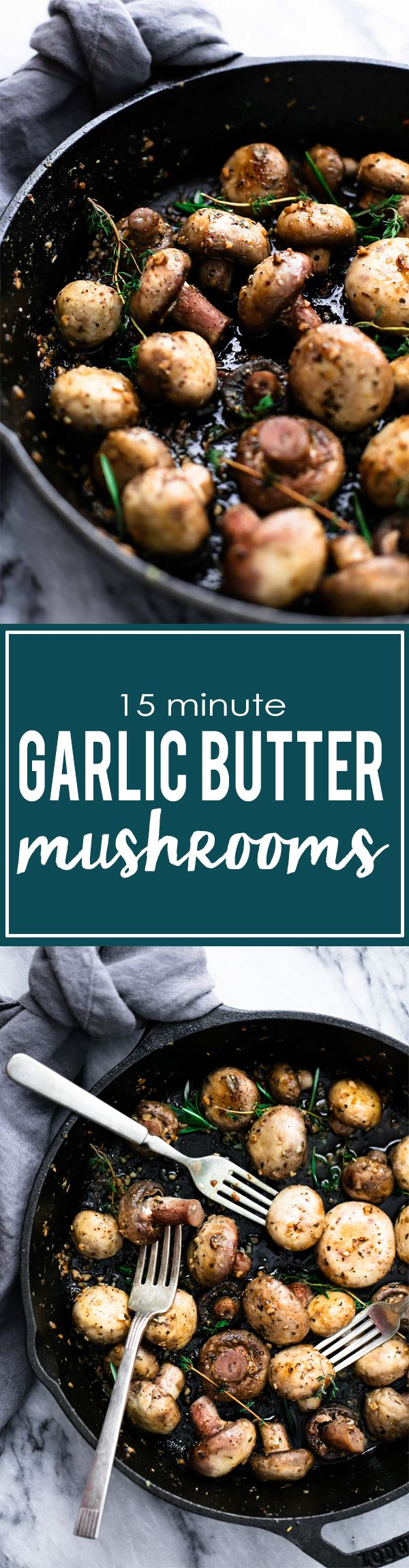 Easy 15 Minute Garlic Butter & Herb Mushrooms | Creme de la Crumb