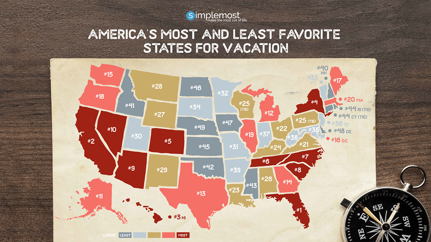 Most And Least Favorite US States For