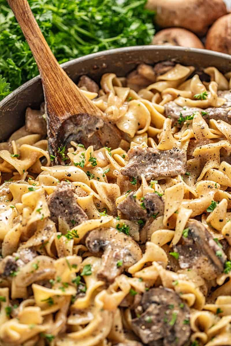 Beef stroganoff is the original family favorite skillet meal. This recipe is so decadent and savory, you won't believe it's a 30 minute meal! #beefstroganoff #30minutemeal #skilletmeal #beef