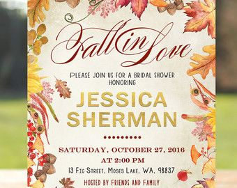 fall in love bridal shower invitation fall bridal shower invitation falling in love
