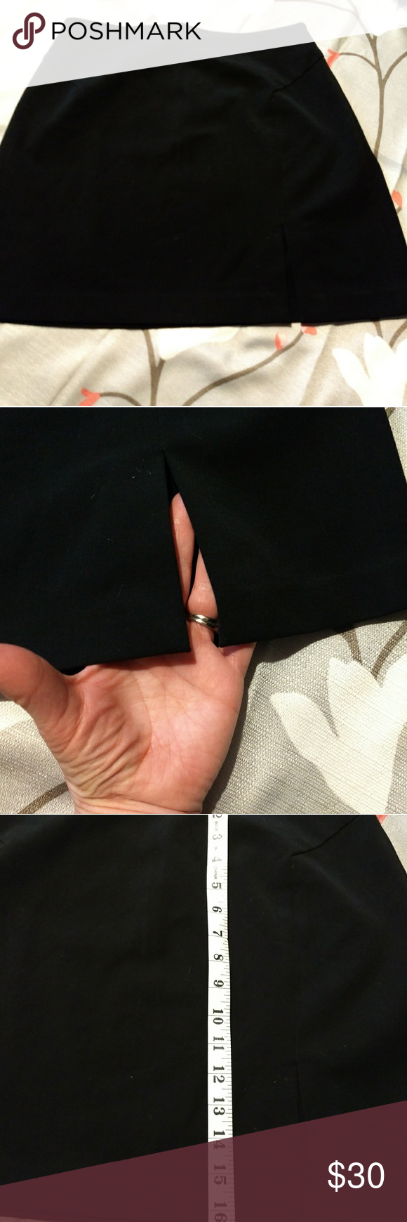 The Limited skirt Black polyester/rayon/Lycra stretch skirt; falls just above the knee. Nice zipper detail in back, short slit detail in front and darts as shown Unlined, dry clean only. Perfect for office dress. Very gently used, no visible flaws or imperfections. The Limited Skirts A-Line or Full