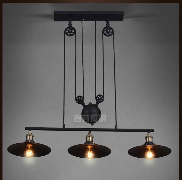 Nordic Industrial Pendant Lamp Lights RH Loft Pulley Adjustable Retractable  Coffee Hanglamp E27 Light Fixtures Modern