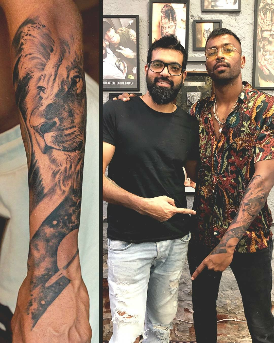 Lion Portrait Tattoo Done On Hardik Pandya All Rounder Of The Indian Cricket Team By Sunny Bhanushali Celebrity Tattoos Male Alien Tattoo Lion Tattoo Sleeves