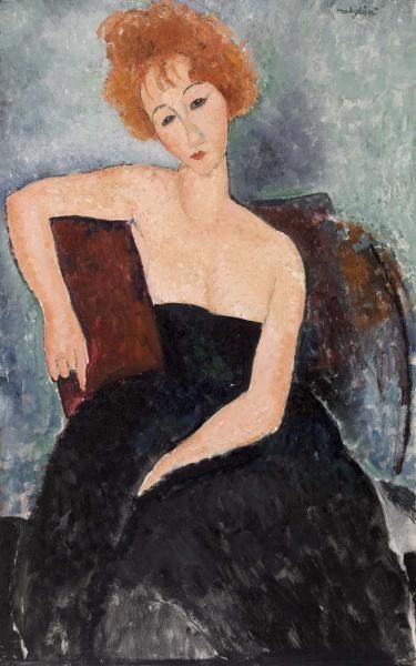 Amedeo Modigliani: Redheaded Girl in Evening Dress, 1918