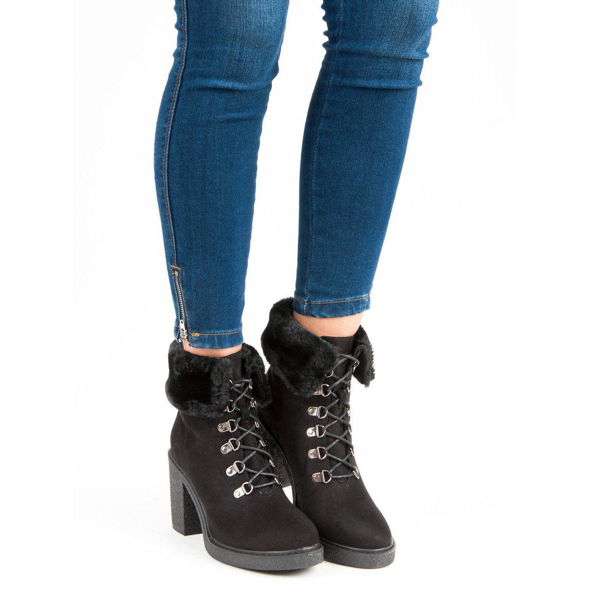 Juliet Wiazane Botki Na Slupku Czarne Shoes Winter Boot Boots