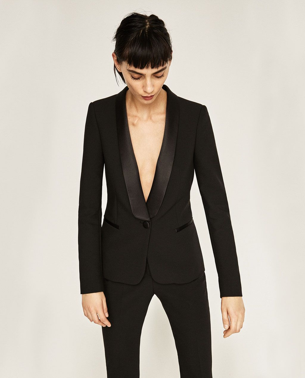 00c99150d BLAZER WITH TUXEDO LAPEL-BLAZERS-WOMAN | ZARA United States … | Lady ...