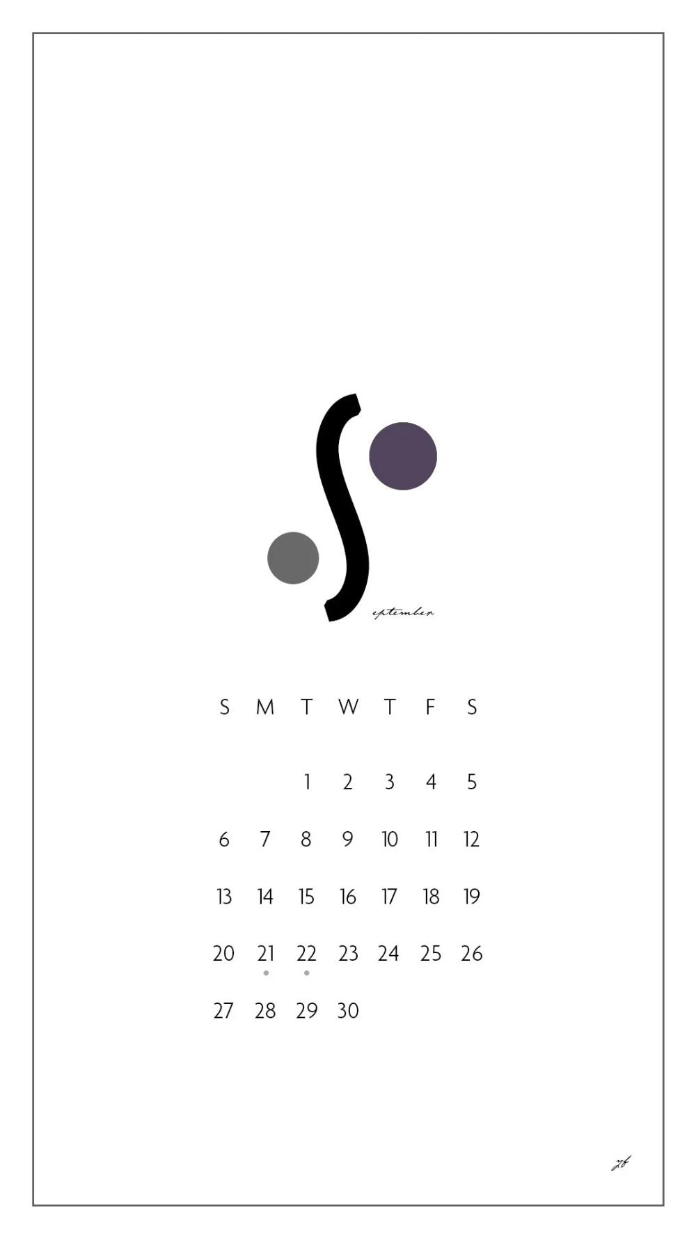 Free Iphone September Calendar 𝗬 𝗙 Note カレンダー 壁紙