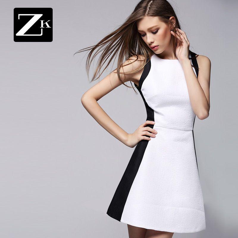 ZK magazin pilot în primăvara anului 2015 de femei rochie rochie în alb și negru împletit o fusta rochie rochie fără mâneci