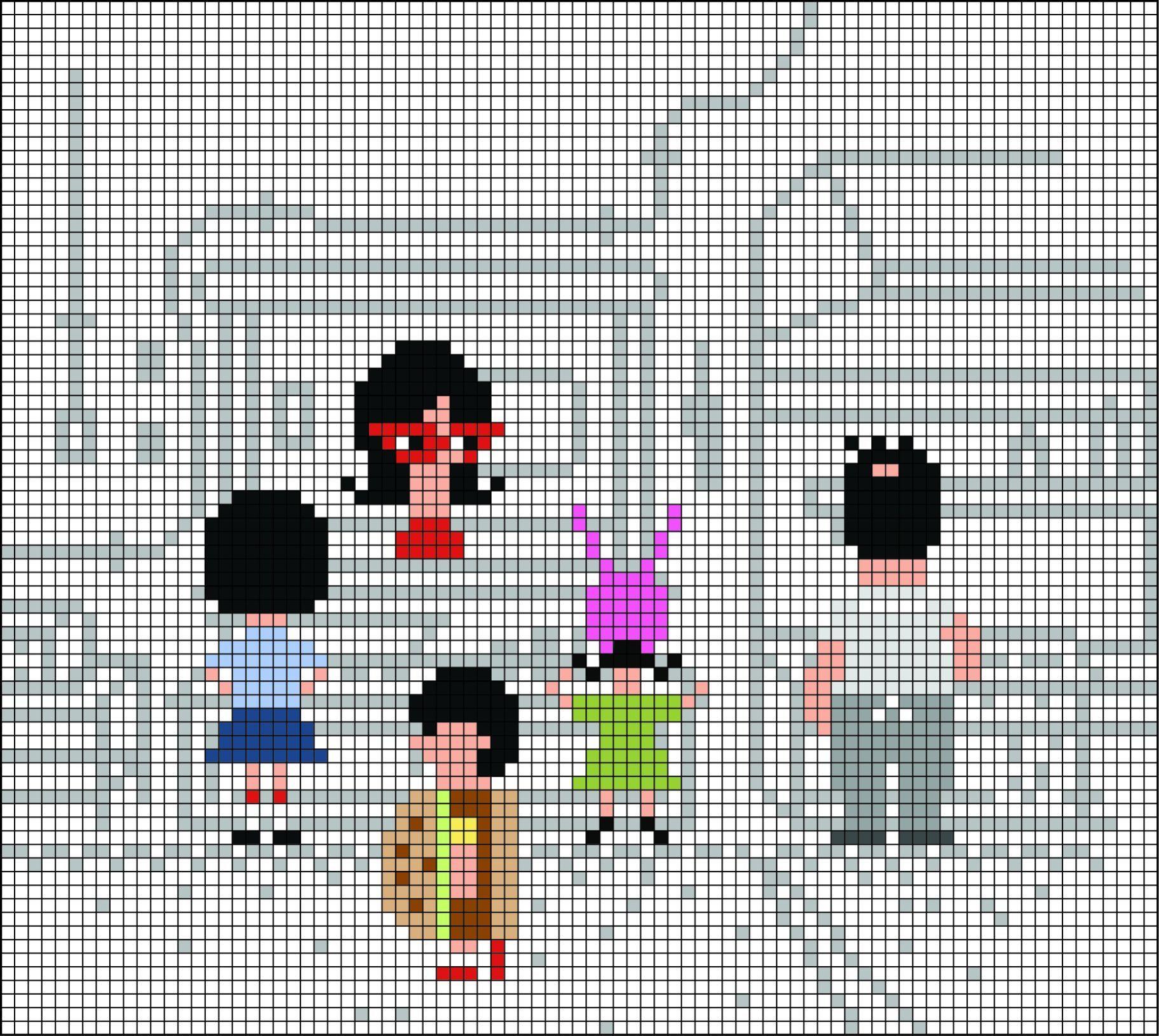 Bob/'s Burgers Digital Cross Stitch Pattern PDF Belcher Family