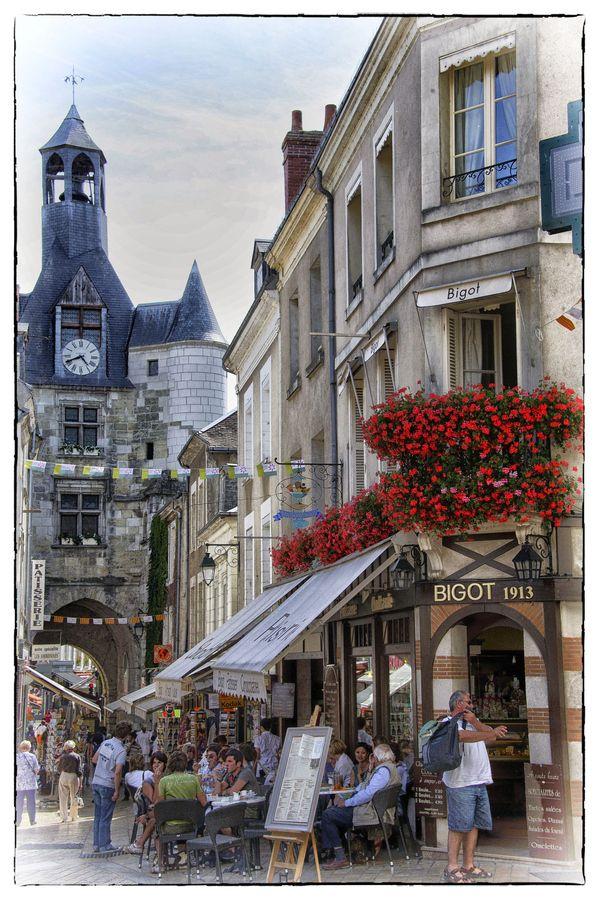 Street in Amboise, Loire Valley region in France