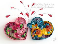 Original Paper Quilling Wall Art - Love Hearts Puzzle Wedding Anniversary Love day Heart Handmade Decor Design Gift The artwork is very colorful