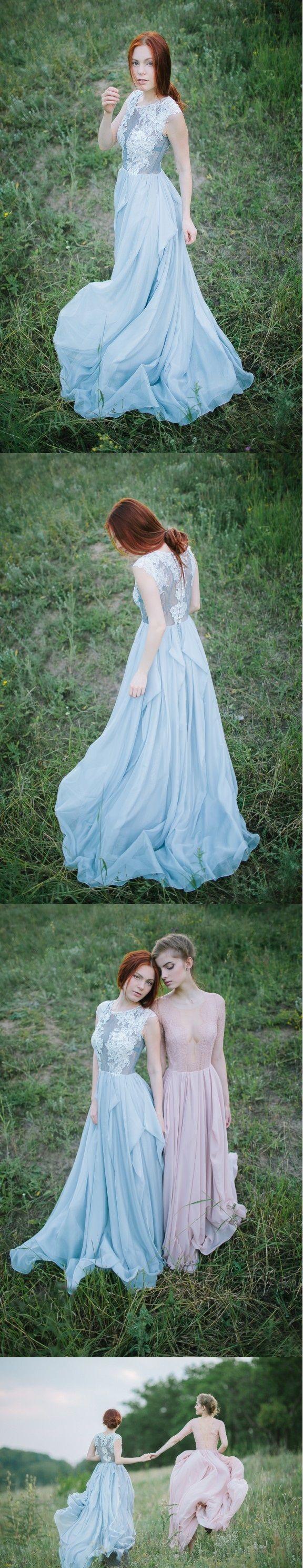 Illusion neckline lace alineprincess long blue chiffon bridesmaid
