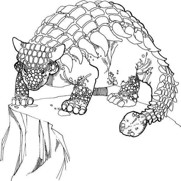 ankylosaurus ankylosaurus stand at the edge of the cliff coloring page