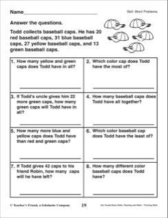 Word Problems (Baseball Cap Collection): 2nd Grade Math Skills ...