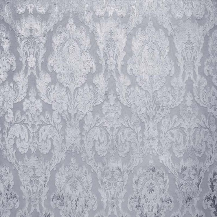 Fiora Silver Damask Fabric - Upholstery Fabric
