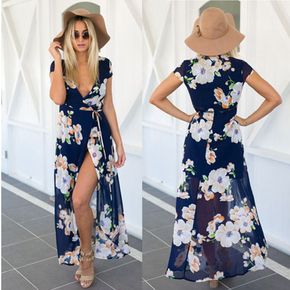 Click to buy ucuc sexy women blue floral summer beach chiffon dress