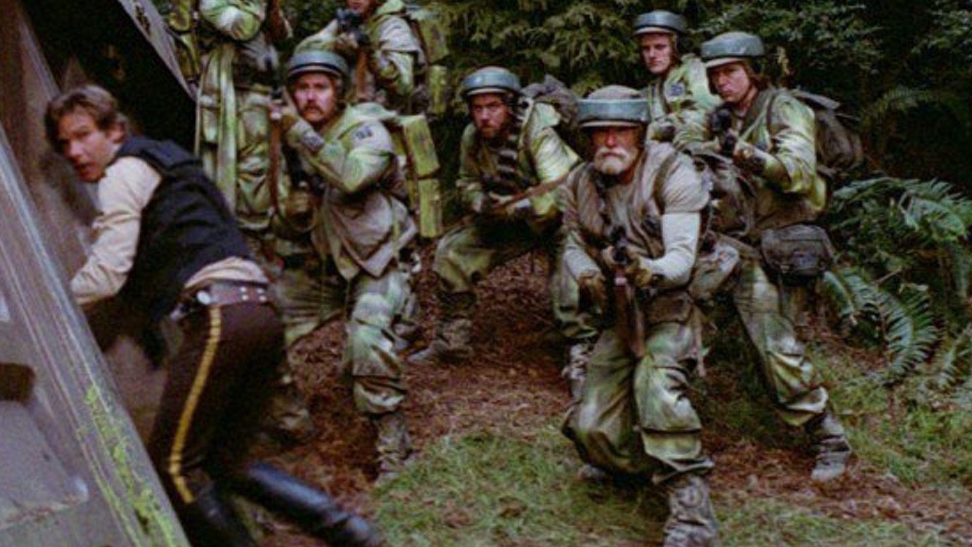 "Han Solo (Harrison Ford) and Captain Rex right in ""Star Wars: Episode VI - Return of the Jedi"" (1983)"