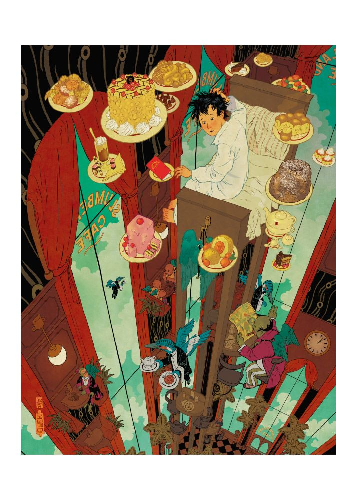 Amazing illustration by Peter Diamond - Little Nemo at the Slumberland Cafe. Available for sale here http://artstore.olschinsky.at/de/artists.php?aktion=details&id=little-nemo-at-the-slumberland-cafe