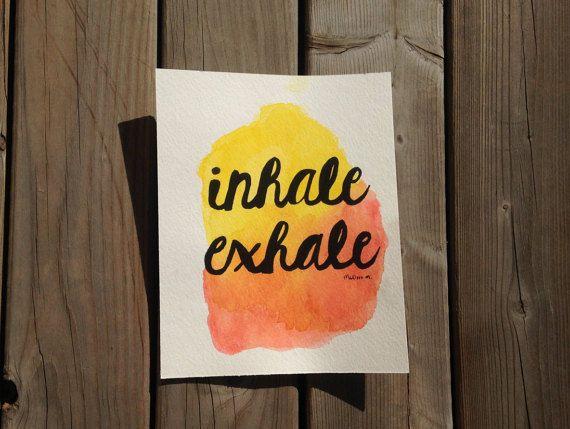 www.etsy.com/shop/atlanticyogi   Inhale Exhale Yoga Inspired Watercolor Art