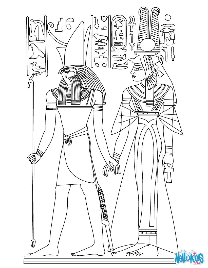 Awesome Egyptian Coloring Pages | HORUS AND NEFERTITI Deities Coloring Page