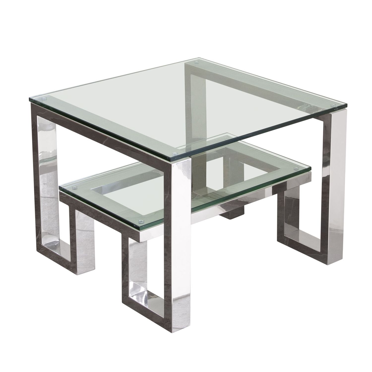 Diamond Sofa Carlsbadet Carlsbad End Table Clear Glass Top Shelf Stainless Steel Frame In 2021 Stainless Steel Furniture Stainless Steel Coffee Table Stainless Steel Table [ 1500 x 1500 Pixel ]