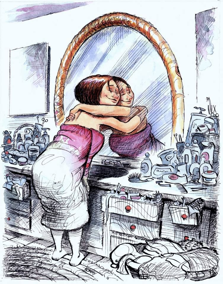 A woman hugging herself through the mirror.