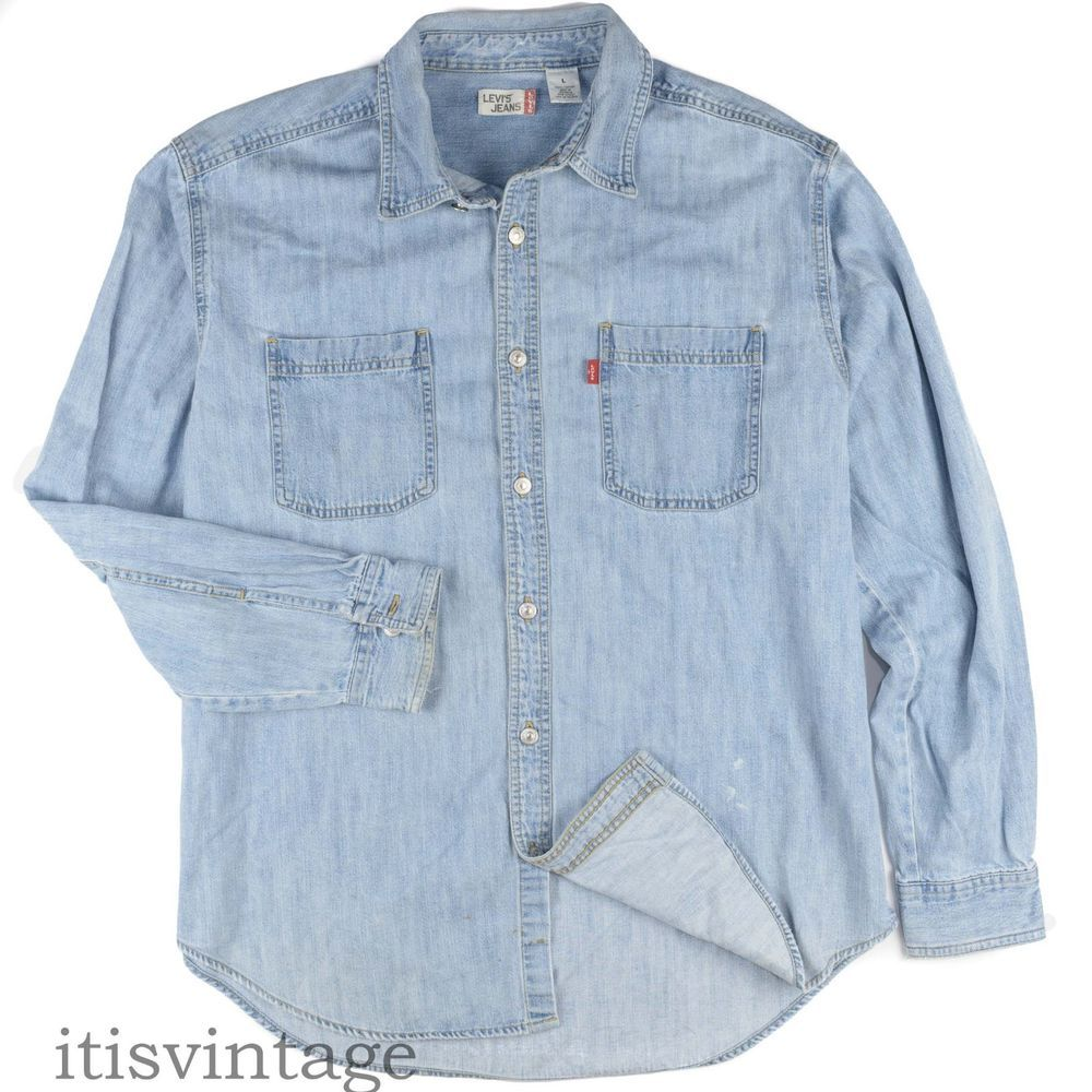 Shirt Red Metal Down Faded Button 90's Large Denim Tab Levis Cotton n8wyNvmO0P