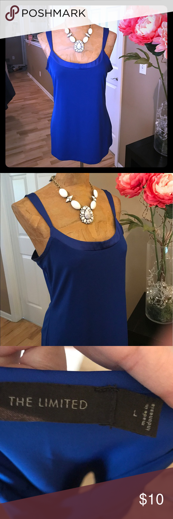 Blue Tank top The Limited. NWOT! Never worn. Bright blue tank top with adjustable lingerie straps. Satin trim. Layer with a blazer or wear solo! Bundle and save! The Limited Tops Tank Tops