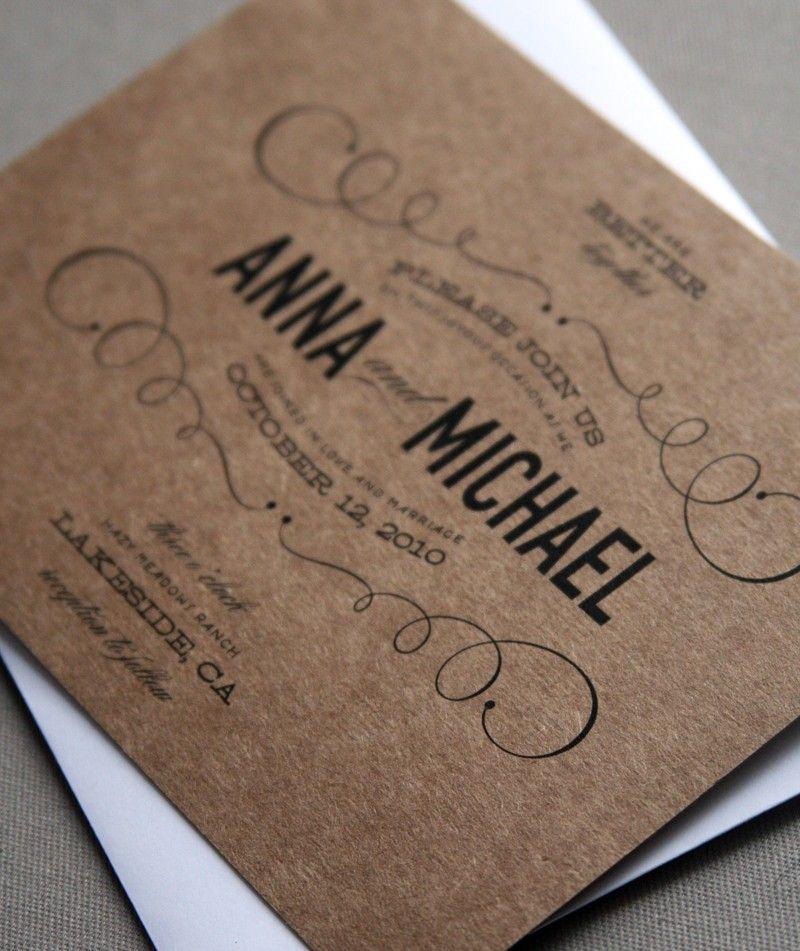 Vintage Type Wedding Invitation