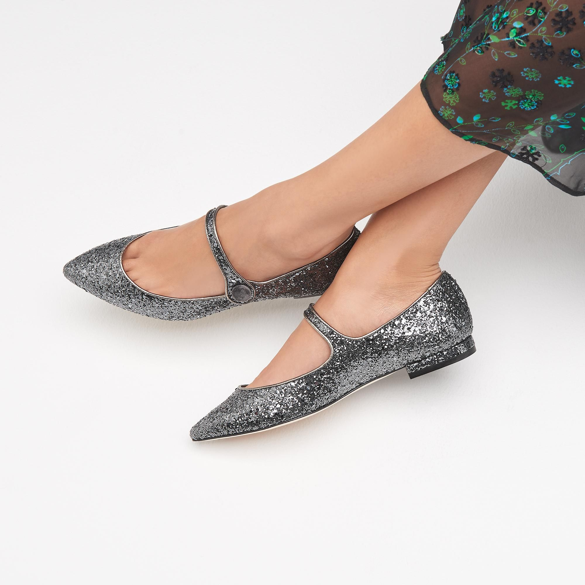 af472cc08 Mary-Jane Grey Glitter Suede Flats | Shoes | L.K.Bennett | jewelry ...