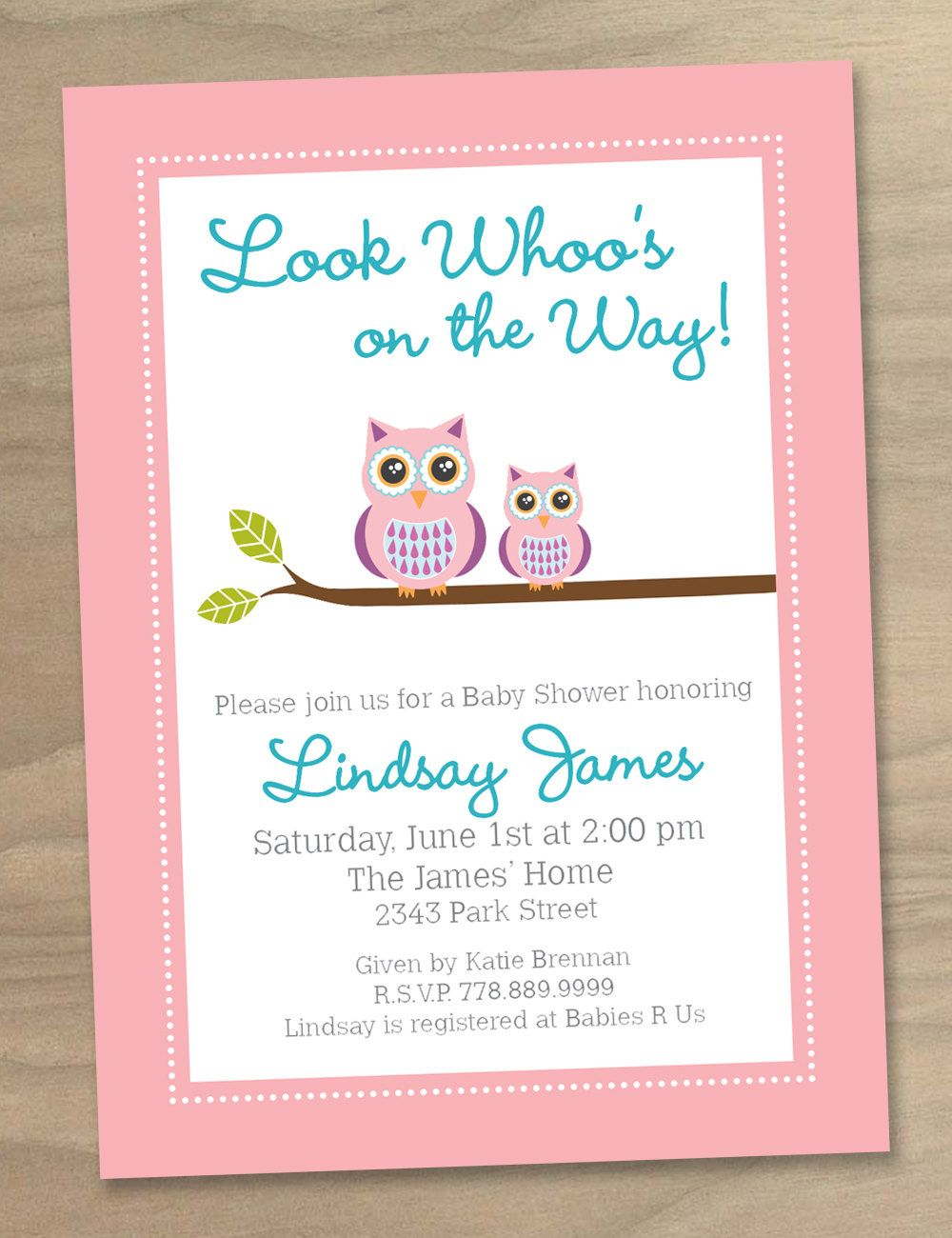 Baby Shower Invitation - Pink Baby Girl Cute Modern Two Owls ...