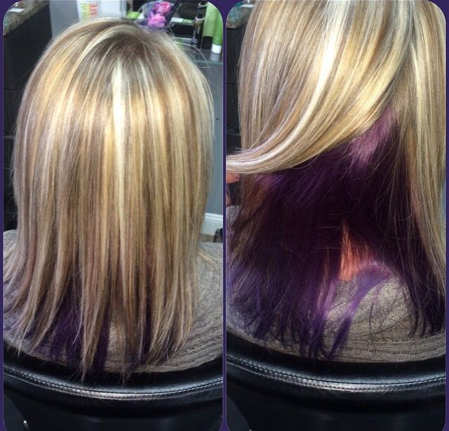 Highlights Lowlights And Purple Peekaboo Many Shades Of Hair In