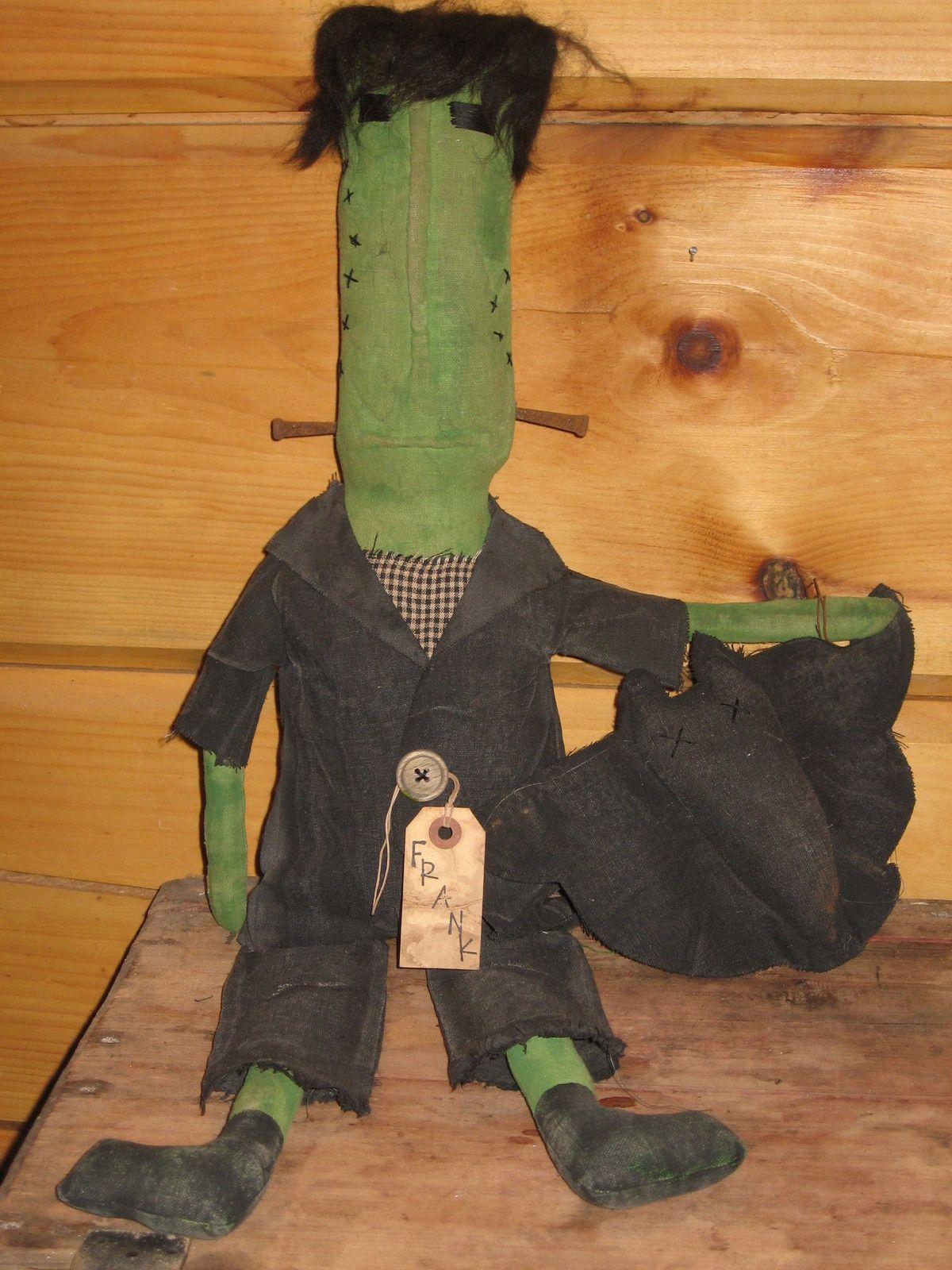 primitive olde folk art halloween frankenstein doll door greeter bat sitter ooak ebay