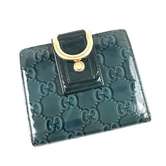 3d1c3763127217 Authentic Gucci Wallet Blue Enamel GG Monogram 100% Authentic blue enamel Gucci  wallet. Very