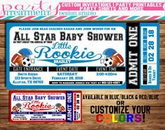 all star sports baby shower ticket invitation allstar baby shower