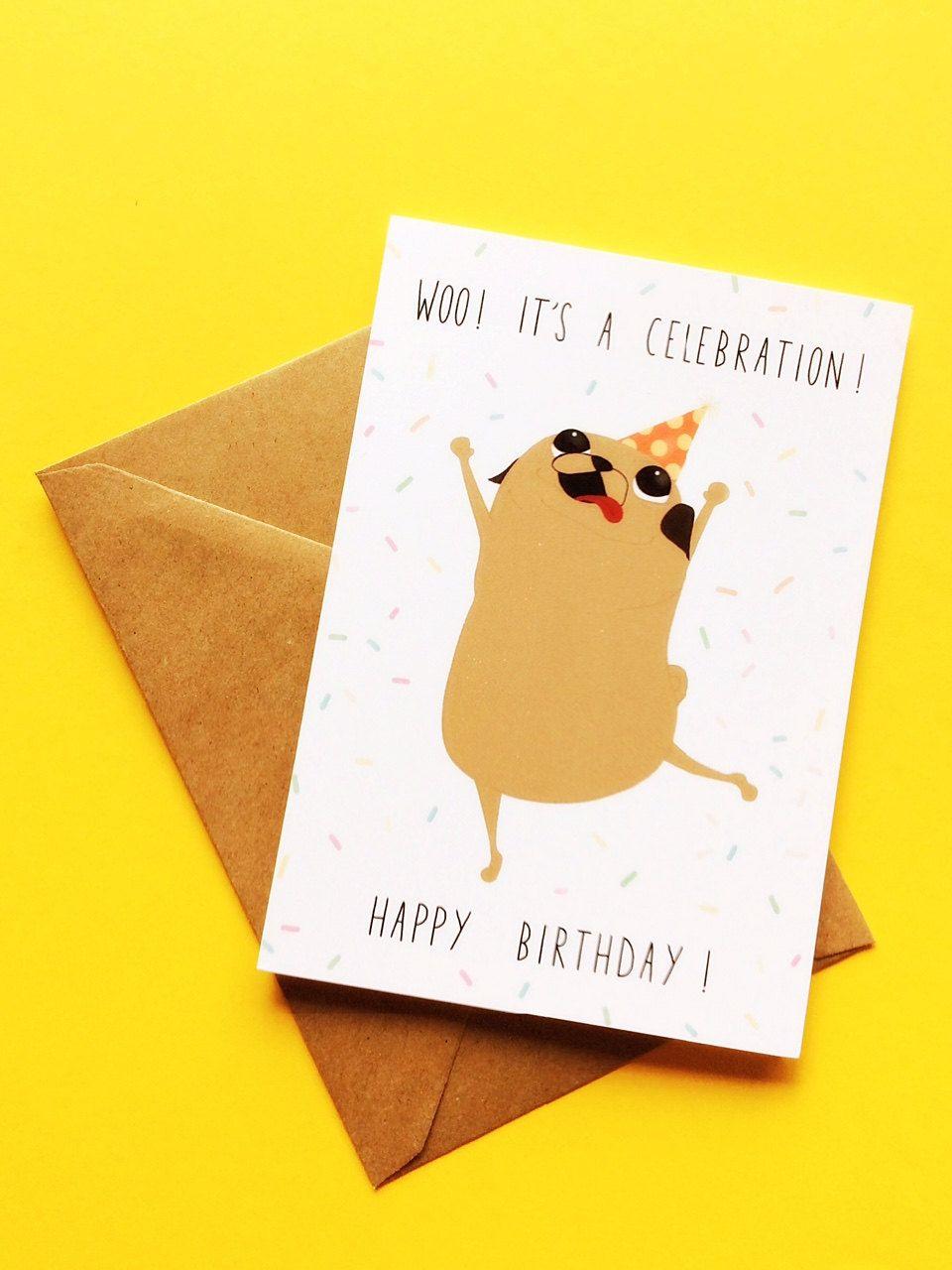 Dancing pug celebration birthday card celebrating birthdays dancing pug celebration birthday card kristyandbryce Gallery