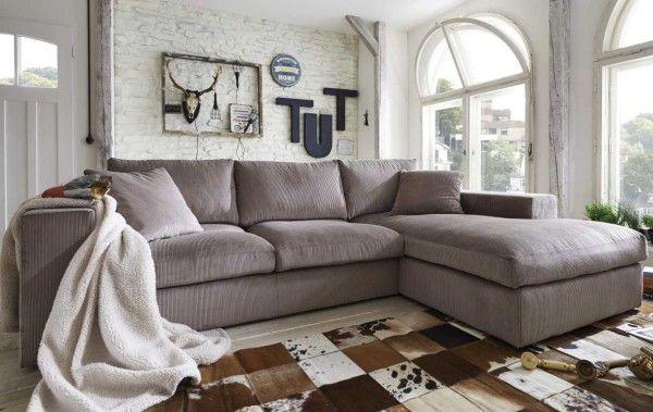 ecksofa linari mit breiter lehne ottomane und traumhaft weichem bezug aus cord sofaecken. Black Bedroom Furniture Sets. Home Design Ideas