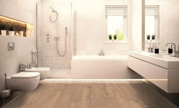 Resultado de imagen de baño con suelo imitacion madera ...