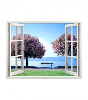 Do You Have A Windowless Cubicle Or A Bedroom Get This Beautiful Fake Window Wall Art That Opens To A Scenary Two Window View Removable Wall Stickers Mural