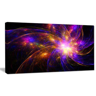 "DesignArt 'Purple Fractal Star Pattern' Graphic Art on Wrapped Canvas Size: 12"" H x 20"" W x 1"" D"