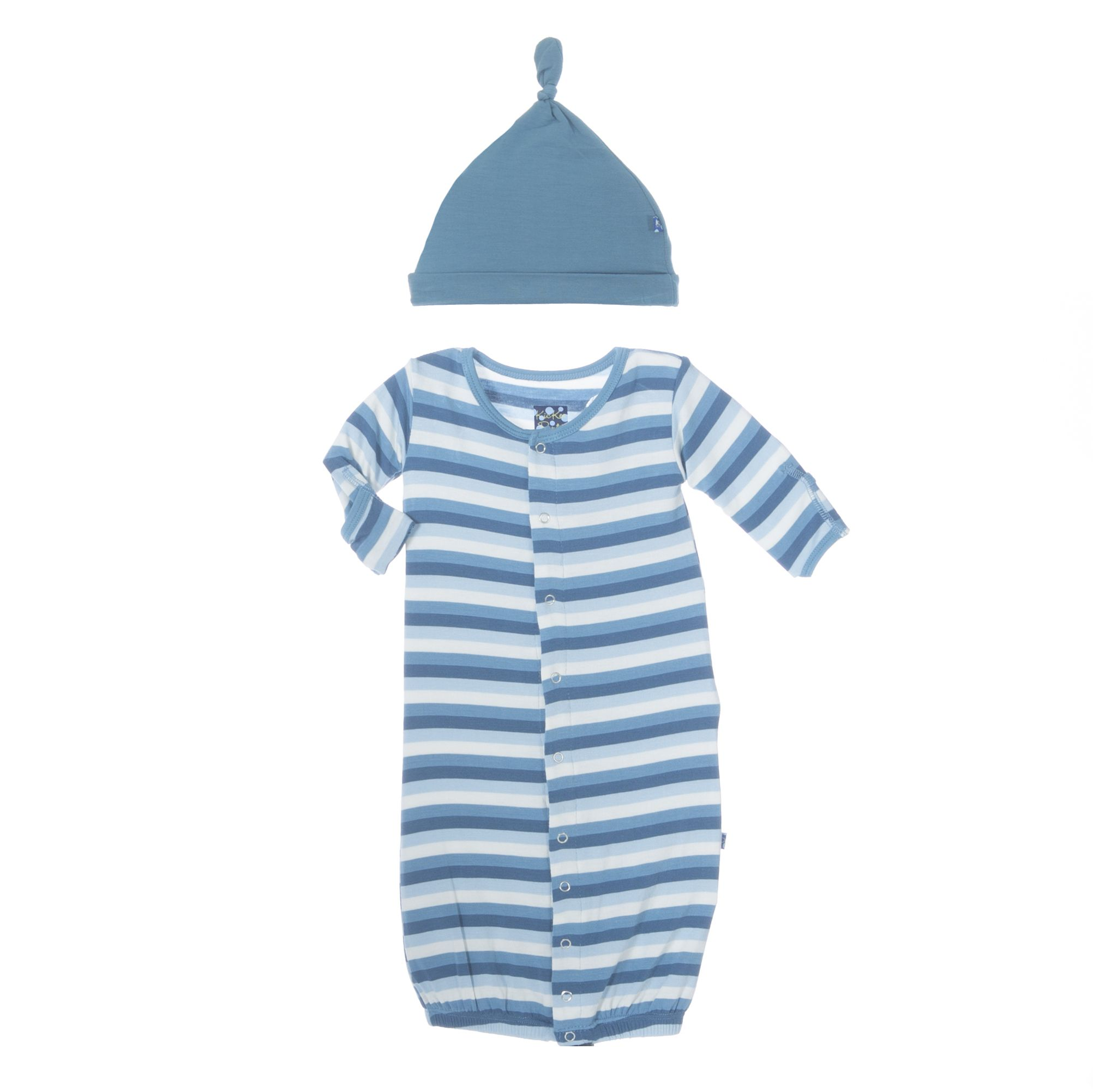 Kickee Pants Salty Sea Stripe Layette Gown Converter & Knot Hat