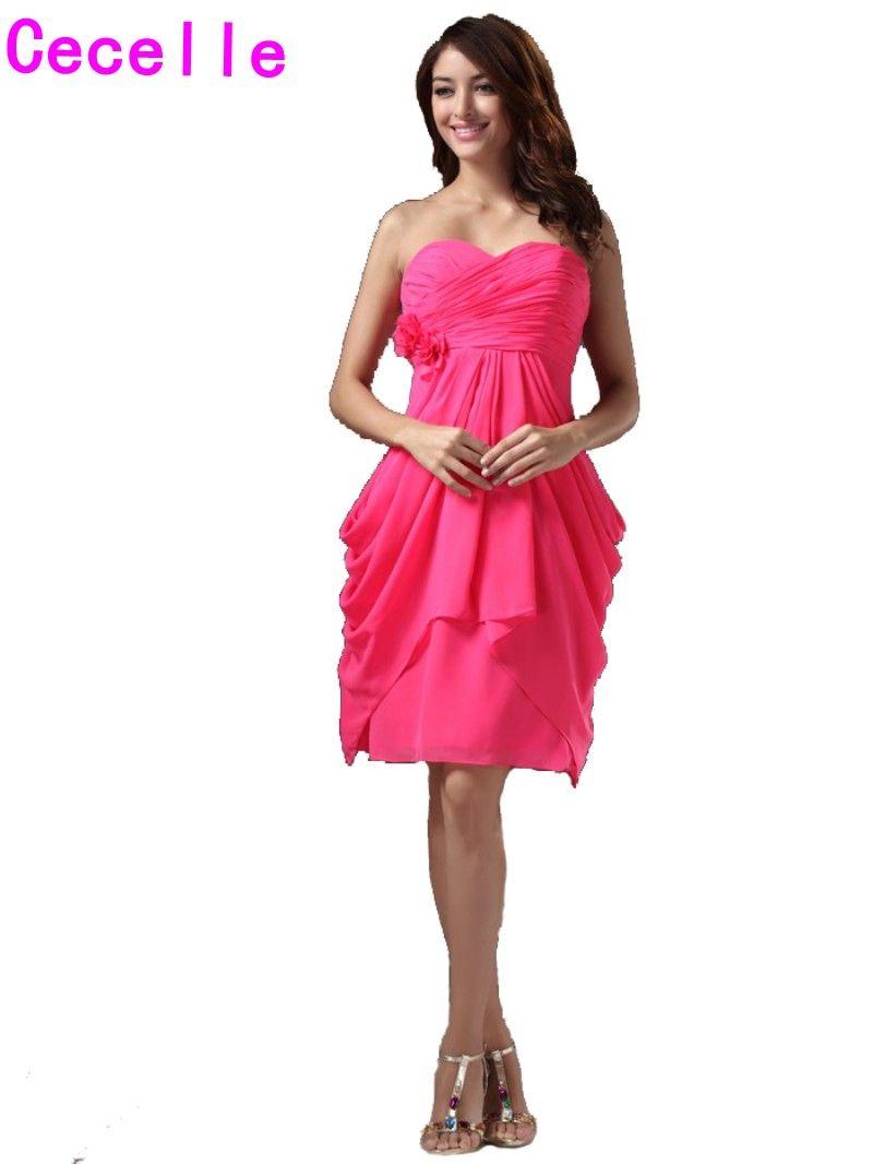 2017 Short Fuchsia Beach Bridesmaid Gowns Dresses Sweetheart Pleats ...