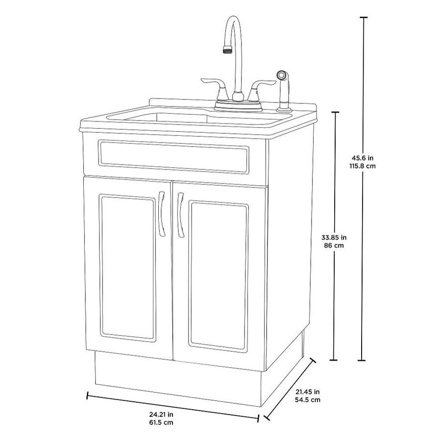 Transform 21 45 In X 24 21 In 1 Basin White Freestanding Abs