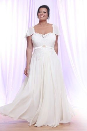 Plus Size Bridal Gown with Short Flutter Sleeves and Empire Waist ...