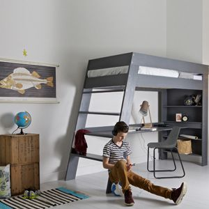 lit mezzanine avec bureau en pin massif bross julien. Black Bedroom Furniture Sets. Home Design Ideas