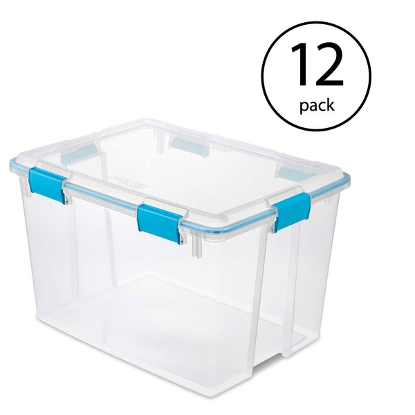 Sterilite 80 Quart Plastic Home Storage Gasket Box Container Clear 12 Pack Plastic Storage Storage Plastic Container Storage