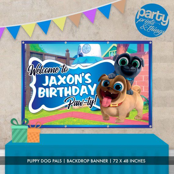 Personalized Custom Name Birthday Vinyl Banner Puppy Dog Pals