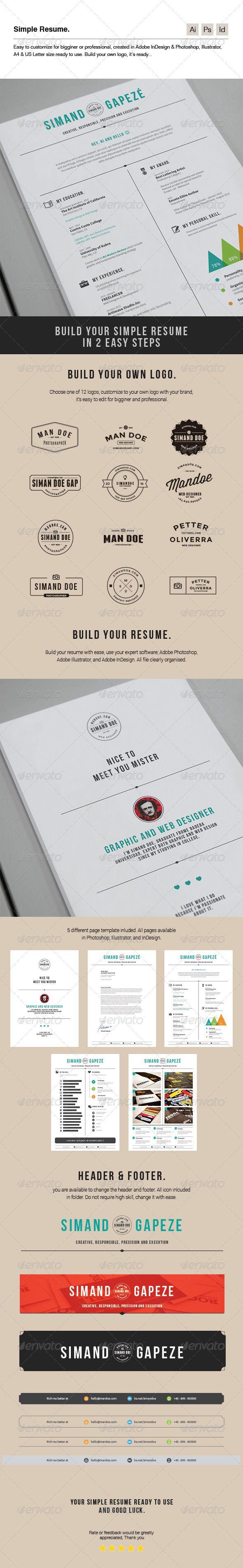 Simple Resume http://graphicriver.net/item/simple-resume/7286887?ref ...
